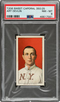 Baseball Cards:Singles (Pre-1930), 1909-11 T206 Sweet Caporal 350/25 Art Devlin PSA NM-MT 8 - Pop Three, None Higher Overall. ...