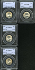 Washington Quarters: , 1932 25C MS63 PCGS, golden-brown and sea-green colors on ... (4Coins)