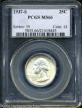 Washington Quarters: , 1937-S 25C MS66 PCGS. Faint olive-gold toning is noted on ...