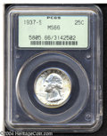 Washington Quarters: , 1937-S 25C MS66 PCGS. A lustrous premium Gem that has ...