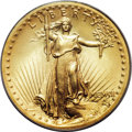 High Relief Double Eagles, 1907 $20 High Relief, Wire Rim MS64 PCGS....