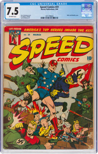 Speed Comics #31 (Harvey, 1944) CGC VF- 7.5 Off-white pages