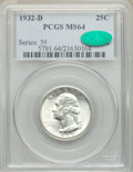 Washington Quarters, 1932-D 25C MS64 PCGS. CAC. PCGS Population: (683/89). NGC Census: (227/24). CDN: $1,300 Whsle. Bid for NGC/PCGS MS64. Minta...