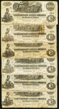 Confederate Notes:1862 Issues, T39 $100 1862 Six Examples Fine or Better.. ... (Total: 6 notes)