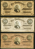 Confederate Notes:1864 Issues, T66 $50 1864 Three Examples Fine-Very Fine or Better.. ... (Total: 3 notes)