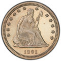 Proof Seated Quarters: , 1891 25C PR64 Cameo PCGS. PCGS Population: (28/36 and 1/2+). NGC Census: (6/39 and 0/0+). PR64. ...
