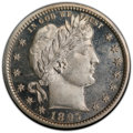 Proof Barber Quarters, 1897 25C PR64 Cameo PCGS. CAC. PCGS Population: (24/44 and 2/5+). NGC Census: (16/32 and 1/4+). PR64. Mintage 731. ...