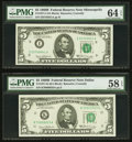 $5 Federal Reserve Notes PMG Graded. 1971-I 1969B Choice Uncirculated 64 EPQ; 1971-K 1969B Choice About Unc 58 EPQ;... (...