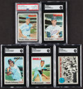 Autographs:Sports Cards, 1970 Topps Signed Baseball Cards, Lot of 5....