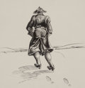 Works on Paper, Lee Brown Coye (American, 1907-1981). Colonial Man with Back Toward Viewer, Art of Bundling interior illustration, 1...