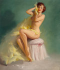 Paintings, Harry Ekman (American, 1923-1999). Seated Nude (Yellow Taffeta). Oil on canvas. 28 x 24 inches (71.1 x 61.0 cm). Not sig...
