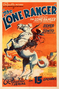 """The Lone Ranger (Republic, 1938). Very Fine+ on Linen. Stock One Sheet (27"""" X 41"""") with First Episode Snipe..."""