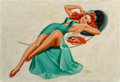 Paintings, Peter Driben (American, 1902-1968). Reclining Red Head in Green Dress with Chocolates. Oil on canvas . 25 x 35 in.. Sign...