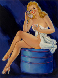 Ruth Deckard (American, 20th Century) You Caught Me in the Bath Oil on canvas laid on panel 32 x