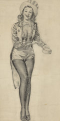 Works on Paper, Gil Elvgren (American, 1914-1980). Patriotic Woman. Pencil on tracing paper. 18 x 12 inches (45.7 x 30.48 cm). Not signe...