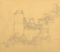 Works on Paper, Maxfield Parrish (American, 1870-1966). Mountainside Castle. Pencil on tracing paper. 7-5/8 x 9-1/2 inches (19.4 x 24.1 ...