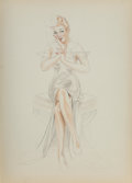 Pin-Up and Glamour Art, Alberto Vargas (Peruvian/American, 1896-1982). Angel sketch. Colored pencil on sketchbook page. 13-3/4 x 9-3/4 inches (3...