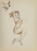Pin-Up and Glamour Art, Alberto Vargas (Peruvian/American, 1896-1982). Hats Off sketch. Colored pencil on sketchbook page. 13-3/4 x 9-3/4 inches...
