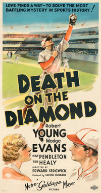 "Death on the Diamond (MGM, 1934). Fine on Linen. Three Sheet (41"" X 77.5"") Style B"