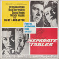 """Movie Posters:Drama, Separate Tables (United Artists, 1958). Folded, Very Fine-. Six Sheet (79"""" X 80""""). Drama.. ..."""