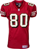 Football Collectibles:Uniforms, 1997 Jerry Rice Game Worn San Francisco 49ers Jersey--Photo Matched to Season Opener at Tampa Bay!...