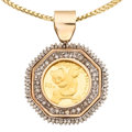 Estate Jewelry:Necklaces, Diamond, Gold Coin, Gold Pendant-Necklace. ...