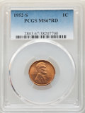 Lincoln Cents: , 1952-S 1C MS67 Red PCGS. PCGS Population: (230/0). NGC Census: (438/0). CDN: $115 Whsle. Bid for NGC/PCGS MS67. Mintage 137...