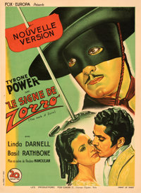 """The Mark of Zorro (20th Century Fox, 1946). Very Fine+ on Linen. First Post-War Release French Moyenne (23"""" X 32&qu..."""