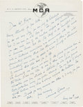 Movie/TV Memorabilia:Autographs and Signed Items, Edmund Gwenn Signed Letter (1950)....