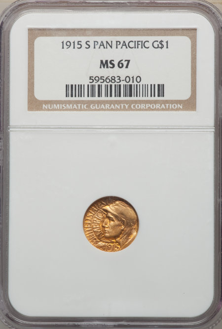 1915-S G$1 PAN-PAC Gold Dollar, MS 67 NGC