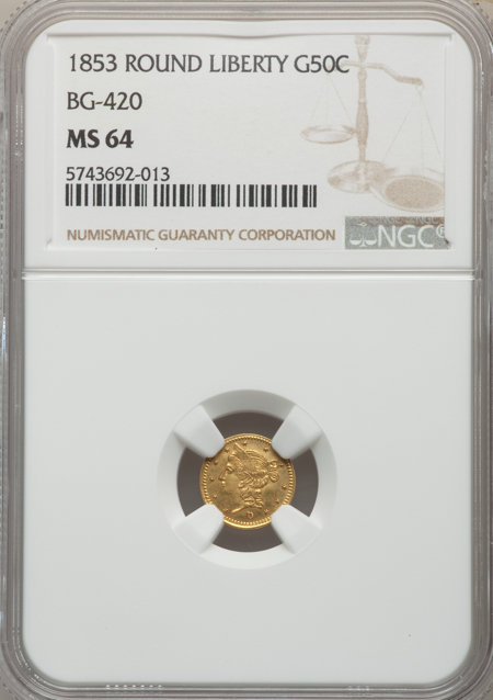 1853 Liberty Round 50 Cents, BG-420, Low R.7 64 NGC
