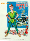 "Movie Posters:Animation, Peter Pan by Giuliano Nistri (RKO, 1953). Near Mint-. Signed Original Italian Mixed Media Concept Artwork on Paper (8"" X 11""..."