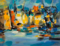 Marcel Mouly (French, 1918-2008) Amsterdam, 1968 Oil on canvas 18-1/4 x 24 inches (46.4 x 61.0 cm