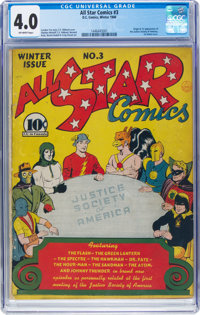All Star Comics #3 (DC, 1940) CGC VG 4.0 Off-white pages