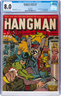 Hangman Comics #3 San Francisco Pedigree (MLJ, 1942) CGC VF 8.0 Off-white to white pages
