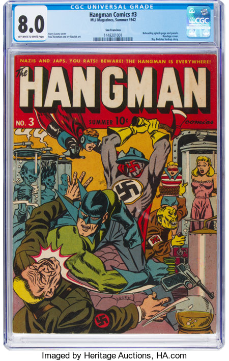 Hangman Comics #3 San Francisco Pedigree (MLJ, 1942) CGC VF 8.0 Off-white to white pages....