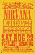 Music Memorabilia:Posters, Nirvana / Mudhoney 1992 Portland and Seattle Double-Sided Concert Poster. ...