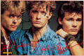 """Music Memorabilia:Autographs and Signed Items, A-ha Signed 3 ¾"""" x 5 ½"""" Cut-Out. ..."""