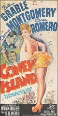 """Movie Posters:Musical, Coney Island (20th Century Fox, 1943). Good/Very Good on Linen. Trimmed Three Sheet (38.75"""" X 76.5). Musical.. ..."""