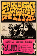 Music Memorabilia:Posters, Creedence Clearwater Revival 1969 Seattle, Washington Concert Poster....