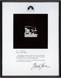 Movie/TV Memorabilia:Awards, The Godfather Plaque From Paramount Pictures President for the Success. ...
