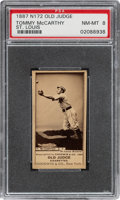 Baseball Cards:Singles (1970-Now), 1887-90 N172 Old Judge Tommy McCarthy (#301-9) PSA NM-MT 8 - Pop One, The Highest Graded Example! ...