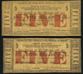 Obsoletes By State:Louisiana, St. Martinsville, LA- Parish of St. Martinsville $5 Apr. 1, 1862, Two Examples Fine or Better.. ... (Total: 2 notes)