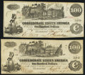 Confederate Notes:1862 Issues, T39 $100 1862 Two Examples Very Fine or Better.. ... (Total: 2 notes)