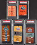 Football Collectibles:Tickets, 1975-1995 Super Bowl Press & Staff Passes, Lot of 5.... (Total: 5 item)