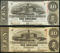 Confederate Notes:1863 Issues, T59 $10 1863 Two Examples Fine-Very Fine or Better.. ... (Total: 2 notes)