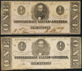 Confederate Notes:1863 Issues, T62 $1 1863 Two Examples About Uncirculated; Fine.. ... (Total: 2 notes)