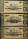 Confederate Notes:1864 Issues, T67 $20 1864 Three Examples Very Fine-Extremely Fine or Better.. ... (Total: 3 notes)