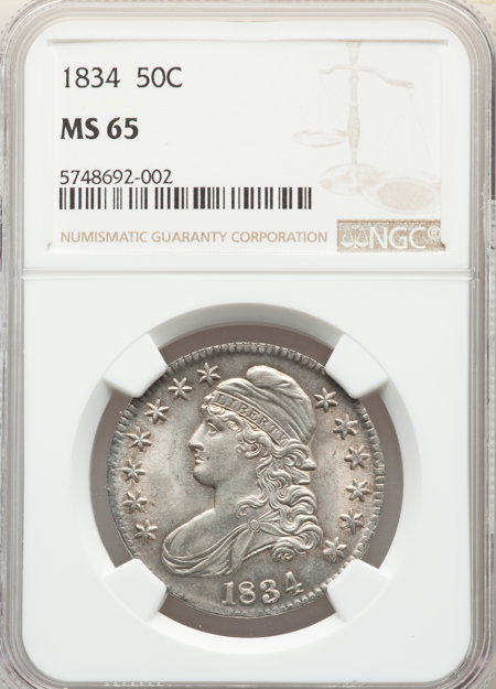1834 50C Large Date Large Letter, MS 65 NGC