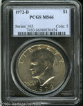 Eisenhower Dollars: , 1972-D $1 MS66 PCGS. Nicely impressed devices, with ...